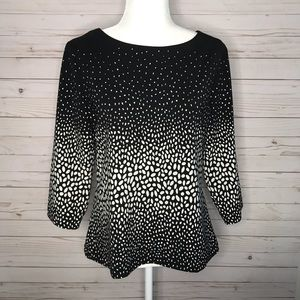 Ann Taylor black and off white blouse